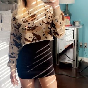 Off the shoulder dress w Cheetah cropped sweater